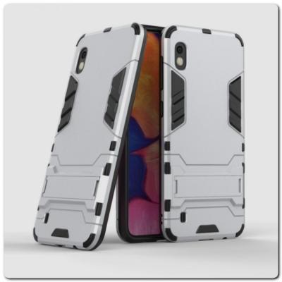 Противоударный Пластиковый Двухслойный Защитный Чехол для Samsung Galaxy A10 с Подставкой Серебряный