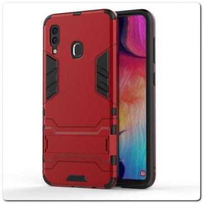 Противоударный Пластиковый Двухслойный Защитный Чехол для Samsung Galaxy A30 / Galaxy A20 с Подставкой Красный