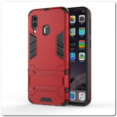 Противоударный Пластиковый Двухслойный Защитный Чехол для Samsung Galaxy A40 с Подставкой Красный
