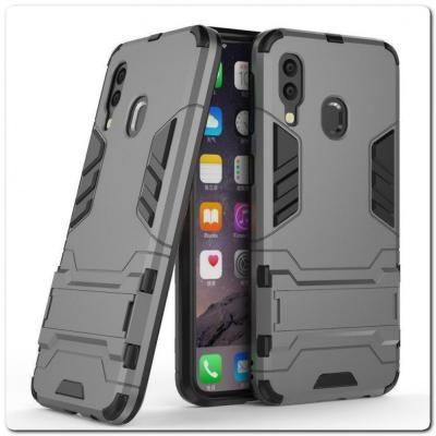 Противоударный Пластиковый Двухслойный Защитный Чехол для Samsung Galaxy A40 с Подставкой Серый