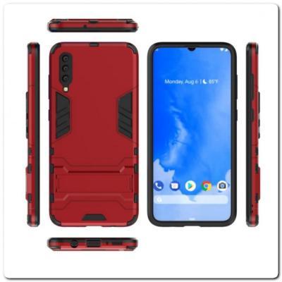 Противоударный Пластиковый Двухслойный Защитный Чехол для Samsung Galaxy A70 с Подставкой Красный