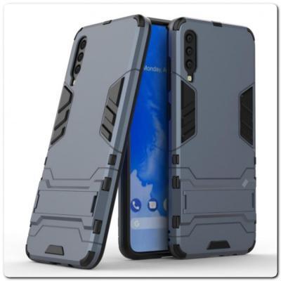 Противоударный Пластиковый Двухслойный Защитный Чехол для Samsung Galaxy A70 с Подставкой Синий