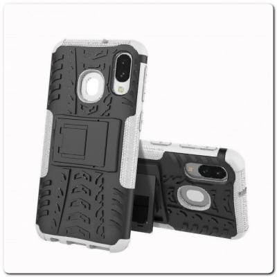 Противоударный Усиленный Ребристый Hybrid Tyre Защитный Чехол для Samsung Galaxy A40 с Подставкой Белый