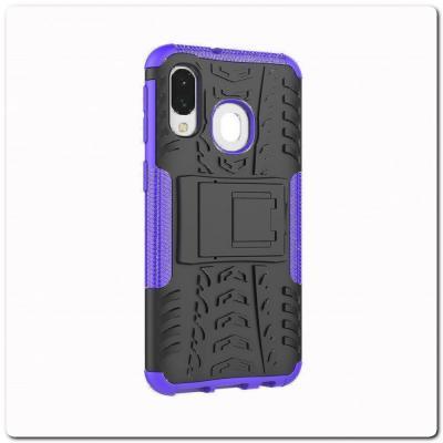 Противоударный Усиленный Ребристый Hybrid Tyre Защитный Чехол для Samsung Galaxy A40 с Подставкой Фиолетовый