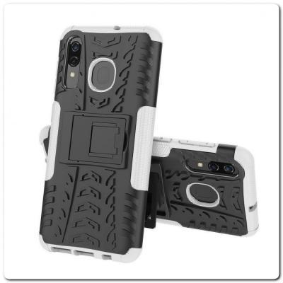 Противоударный Усиленный Ребристый Hybrid Tyre Защитный Чехол для Samsung Galaxy A50 / Galaxy A30 с Подставкой Белый