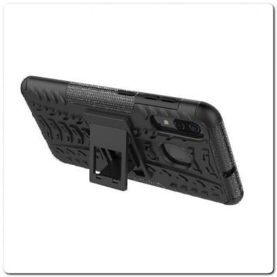Противоударный Усиленный Ребристый Hybrid Tyre Защитный Чехол для Samsung Galaxy A50 / Galaxy A30 с Подставкой Черный