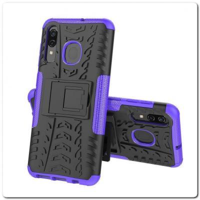 Противоударный Усиленный Ребристый Hybrid Tyre Защитный Чехол для Samsung Galaxy A50 / Galaxy A30 с Подставкой Фиолетовый