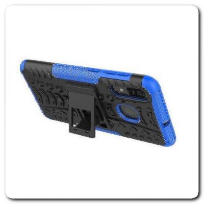 Противоударный Усиленный Ребристый Hybrid Tyre Защитный Чехол для Samsung Galaxy A50 / Galaxy A30 с Подставкой Синий