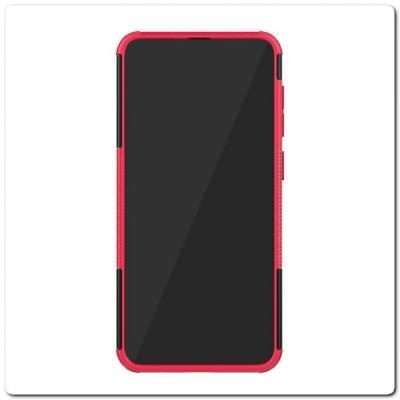 Противоударный Усиленный Ребристый Hybrid Tyre Защитный Чехол для Samsung Galaxy A50 / Galaxy A30 с Подставкой Ярко-Розовый