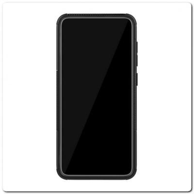 Противоударный Усиленный Ребристый Hybrid Tyre Защитный Чехол для Samsung Galaxy A70 с Подставкой Черный