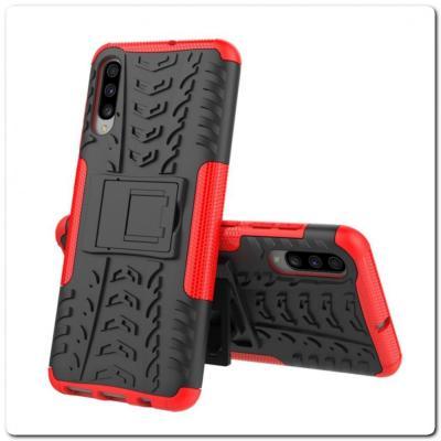 Противоударный Усиленный Ребристый Hybrid Tyre Защитный Чехол для Samsung Galaxy A70 с Подставкой Красный