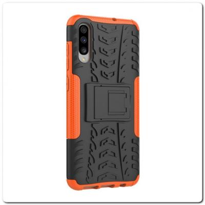Противоударный Усиленный Ребристый Hybrid Tyre Защитный Чехол для Samsung Galaxy A70 с Подставкой Оранжевый