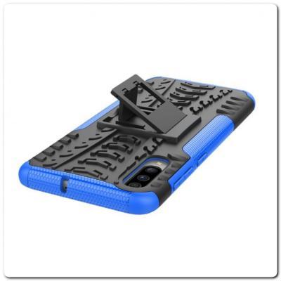 Противоударный Усиленный Ребристый Hybrid Tyre Защитный Чехол для Samsung Galaxy A70 с Подставкой Синий