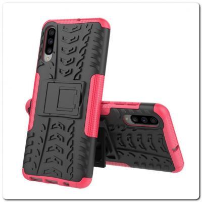 Противоударный Усиленный Ребристый Hybrid Tyre Защитный Чехол для Samsung Galaxy A70 с Подставкой Ярко-Розовый