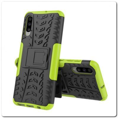 Противоударный Усиленный Ребристый Hybrid Tyre Защитный Чехол для Samsung Galaxy A70 с Подставкой Зеленый