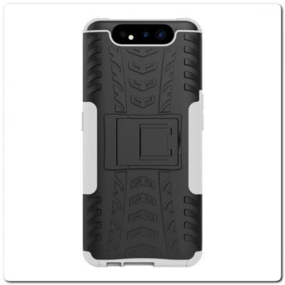 Противоударный Усиленный Ребристый Hybrid Tyre Защитный Чехол для Samsung Galaxy A80 с Подставкой Серый