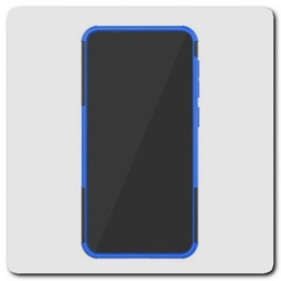 Противоударный Усиленный Ребристый Hybrid Tyre Защитный Чехол для Samsung Galaxy M10 / Galaxy A10 с Подставкой Синий
