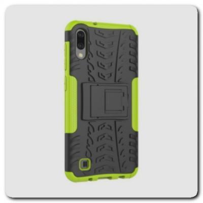 Противоударный Усиленный Ребристый Hybrid Tyre Защитный Чехол для Samsung Galaxy M10 / Galaxy A10 с Подставкой Зеленый