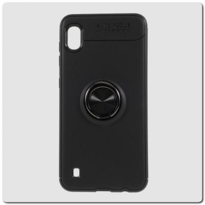 Силиконовый Magnet Ring Чехол с Кольцом для Магнитного Держателя для Samsung Galaxy A10 Черный