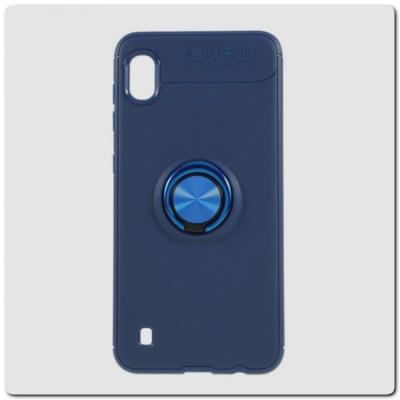 Силиконовый Magnet Ring Чехол с Кольцом для Магнитного Держателя для Samsung Galaxy A10 Синий