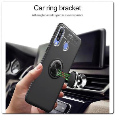 Силиконовый Magnet Ring Чехол с Кольцом для Магнитного Держателя для Samsung Galaxy A30 / Galaxy A20 Розовое Золото / Черный