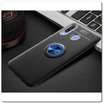 Силиконовый Magnet Ring Чехол с Кольцом для Магнитного Держателя для Samsung Galaxy A30 / Galaxy A20 Синий / Черный