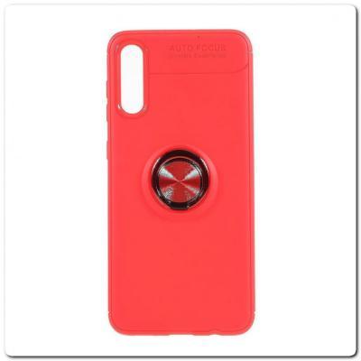 Силиконовый Magnet Ring Чехол с Кольцом для Магнитного Держателя для Samsung Galaxy A50 Красный