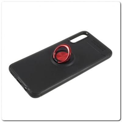 Силиконовый Magnet Ring Чехол с Кольцом для Магнитного Держателя для Samsung Galaxy A70 Красный / Черный