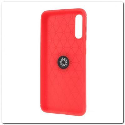 Силиконовый Magnet Ring Чехол с Кольцом для Магнитного Держателя для Samsung Galaxy A70 Красный