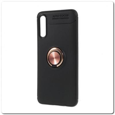 Силиконовый Magnet Ring Чехол с Кольцом для Магнитного Держателя для Samsung Galaxy A70 Розовое Золото / Черный