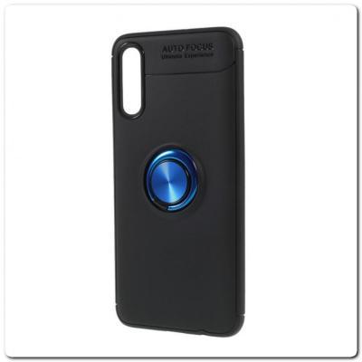 Силиконовый Magnet Ring Чехол с Кольцом для Магнитного Держателя для Samsung Galaxy A70 Синий / Черный