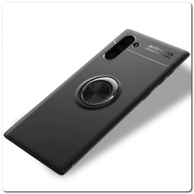 Силиконовый Magnet Ring Чехол с Кольцом для Магнитного Держателя для Samsung Galaxy Note 10 Черный