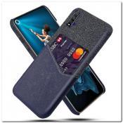 Купить Гибридный Чехол для Задней Панели Телефона с Карманом для Карты для Huawei Honor 20 Синий на Apple-Land.ru