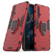 Купить Противоударный Чехол Hybrid Ring с Кольцом для Huawei Honor 20 и Металлической Пластиной для Магнитного Держателя Красный на Apple-Land.ru