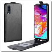 Купить Вертикальный Чехол Книжка Флип Вниз для Samsung Galaxy A70 с карманом для карт Черный на Apple-Land.ru