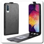Купить Вертикальный Чехол Книжка Флип Вниз для Samsung Galaxy A50 с карманом для карт Черный на Apple-Land.ru