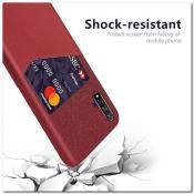 Купить Гибридный Чехол для Задней Панели Телефона с Карманом для Карты для Huawei Honor 20 Красный на Apple-Land.ru