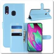 Купить Чехол Книжка Book Wallet с Визитницей и Кошельком для Samsung Galaxy A40 Синий на Apple-Land.ru