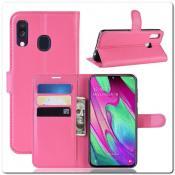 Купить Чехол Книжка Book Wallet с Визитницей и Кошельком для Samsung Galaxy A40 Ярко-Розовый на Apple-Land.ru