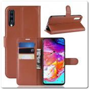 Купить Чехол Книжка Book Wallet с Визитницей и Кошельком для Samsung Galaxy A70 Коричневый на Apple-Land.ru