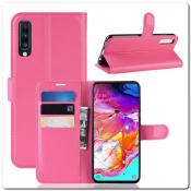 Купить Чехол Книжка Book Wallet с Визитницей и Кошельком для Samsung Galaxy A70 Ярко-Розовый на Apple-Land.ru