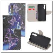 Купить Чехол Книжка Color Wallet с Магнитным Язычком для Huawei Honor 20 с Рисунком Фиолетовые Бабочки на Apple-Land.ru