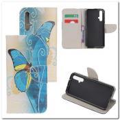 Купить Чехол Книжка Color Wallet с Магнитным Язычком для Huawei Honor 20 с Рисунком Голубые Бабочки на Apple-Land.ru