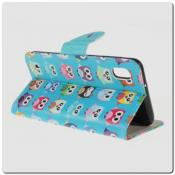 Чехол Книжка Color Wallet с Магнитным Язычком для Samsung Galaxy A10 с Рисунком Милые Совы