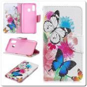 Купить Чехол Книжка Color Wallet с Магнитным Язычком для Samsung Galaxy A40 с Рисунком Яркие Бабочки на Apple-Land.ru