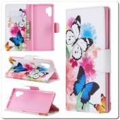Купить Чехол Книжка Color Wallet с Магнитным Язычком для Samsung Galaxy Note 10+ / Note 10 Plus с Рисунком Бабочки на Apple-Land.ru