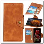 Чехол Книжка Flip Wallet с Отделениями для Карт на Samsung Galaxy A70 Коричневый