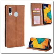 Купить Чехол Книжка с Скрытыми Магнитами Авто Закрытие для Samsung Galaxy A40 Коричневый на Apple-Land.ru