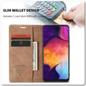 Чехол Книжка с Скрытыми Магнитами Авто Закрытие для Samsung Galaxy A50 Коричневый