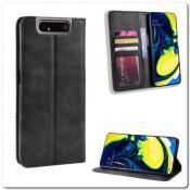 Купить Чехол Книжка с Скрытыми Магнитами Авто Закрытие для Samsung Galaxy A80 Черный на Apple-Land.ru